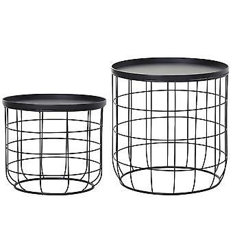 Outsunny Set Of 2 Webbed Frame Side Tables w/ Saucer Top Metal Durable Stacking Home Funriture Display Black