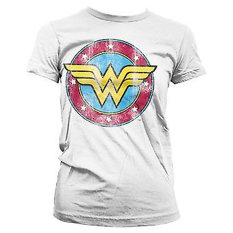 Frauen's Wonder Woman Distressed Logo weißes T-Shirt