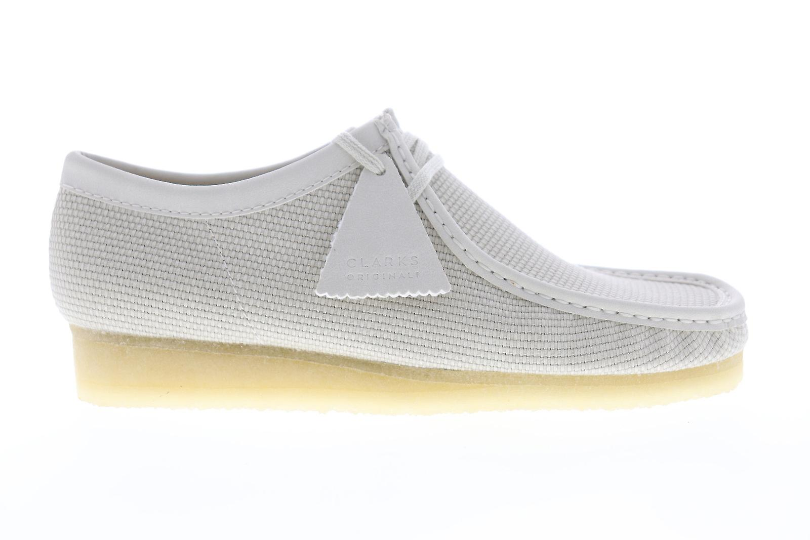 Clarks Wallabee Mens White Canvas Casual Lace Up Oxfords Chaussures