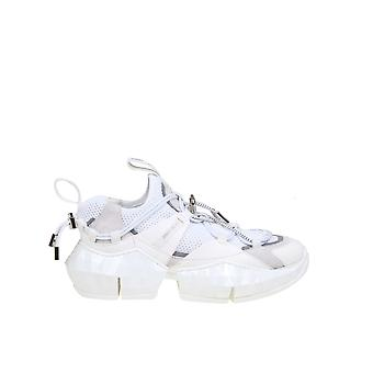 Jimmy Choo Diamondtrailfehlwhite Kvinnor's White Fabric Sneakers