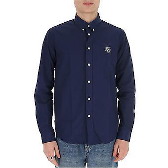 Kenzo Fa55ch4001la77 Mænd's Blue Cotton Shirt