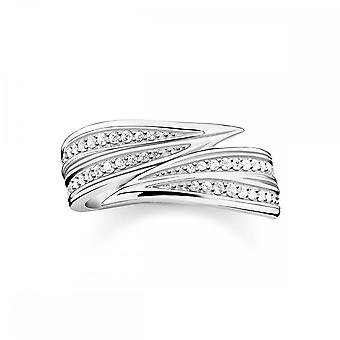Thomas Sabo Magic Garden Silver & White Zirconia Leaves Band Ring