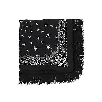 Amiri W9a38369se Men's Black Silk Scarf
