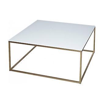 Mesa de centro quadrada quadrada contemporânea gillmore de vidro branco e metal dourado