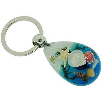 Olivia Collection Nautical Underwater Life Key Ring med EKTE sjøstjerner og skjell