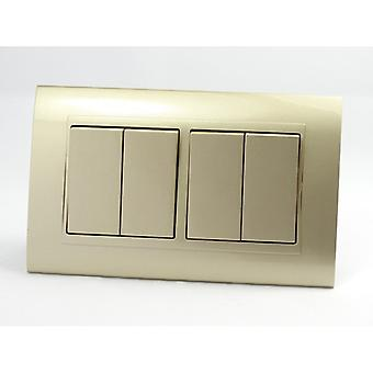 I LumoS AS Luxury Gold Plastic Arc Double Frame 4 Gang 1 Way Rocker Light Switches