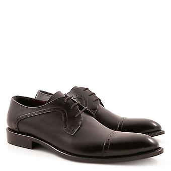 Handmade black plain cap toe blucher shoes for men
