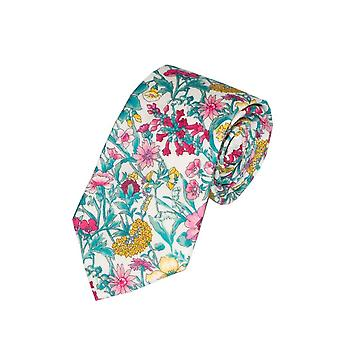 Yellow & Pink Liberty Art Fabric Floral Print Tie