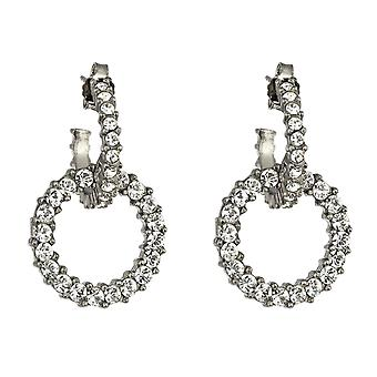 Giora Earrings  in Bronze With White Swarovski Crystals.