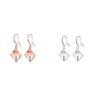 Fable Womens/Ladies Brushed Diamond Shaped Earrings