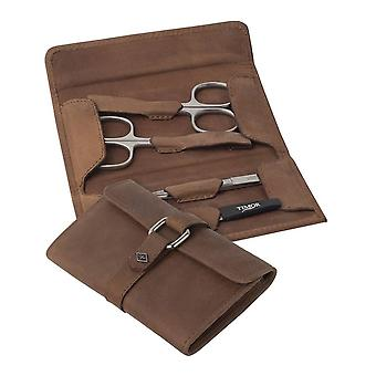 Orton West 4 Piece Manicure Set - Brown/Silver