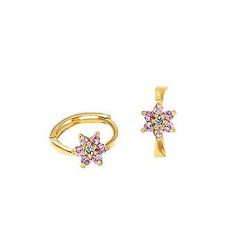 Earrings Skinny Diamonds Flower Hoops 18K Gold - Yellow Gold