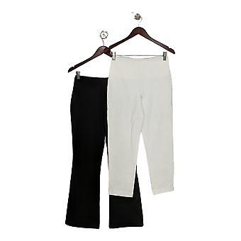 Women with Control Womens Petite Tummy Control Set 2 Pants Black A344735 PTC