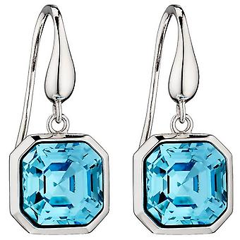 Elements Silver Imperial Cut Earrings - Silver/Aquamarine Blue