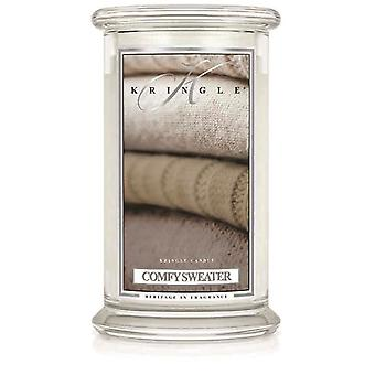 Kringle Candle Scented Large 22oz Classic Jar 2-Wick Comfy Sweater