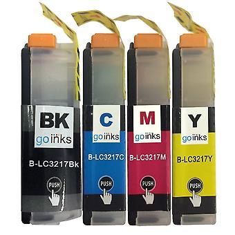 1 Set di cartucce di inchiostro per sostituire Brother LC3217 Compatibile/non OEM da Go Inks (4 inchiostri)