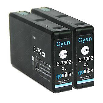 2 Cián tintapatron az Epson T7902 (79XL sorozat) cseréjére Kompatibilis/nem OEM-k a Go Inks-ből