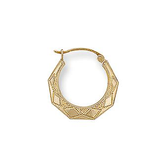 Eternity 9ct Gold Small Round Patterned Creole Hoop Earrings
