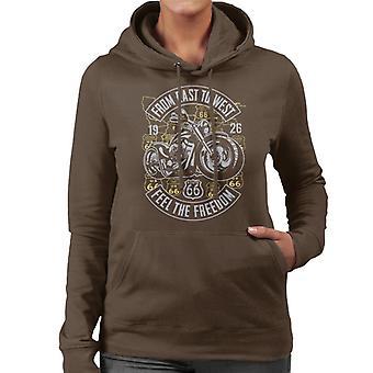 Route 66 From East To West Biker Women's Hooded Sweatshirt