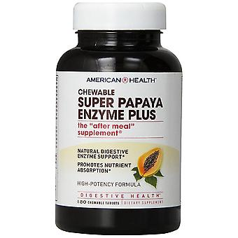 American Health Super Papaya enzym Plus tyggetabletter 180 Ct