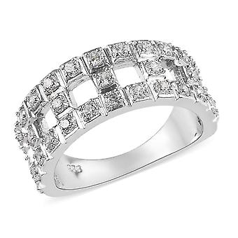 J Francis Band Made with Swarovski Zirconia Ring Sterling Silver Platinum Plated