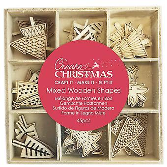 Formes en bois mixtes pour papercrafts de Noël - Arbres de Noël - 45pcs