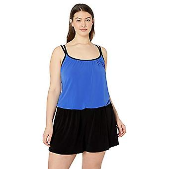 Maxine Of Hollywood Women's Plus-Size Romper One Piece Swimsuit, Cobalt//Soli...