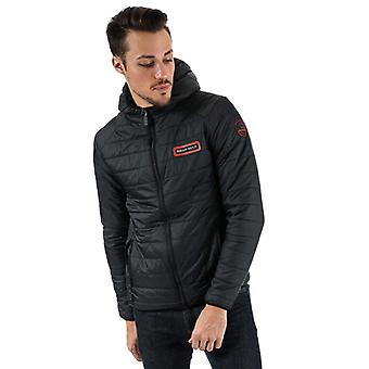 Men's Bear Max Grizzly Hooded Puffer Jacket in Black