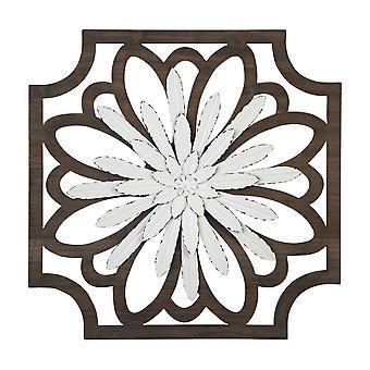 Flower Framed Wall Art with Walnut Finish