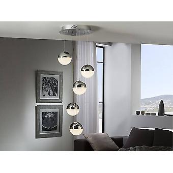 Schuller sfære - integrert LED dimbar klynge drop tak anheng med fjernkontroll krom
