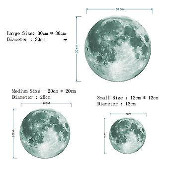 3d Lysende Moon Wall Sticker 30cm