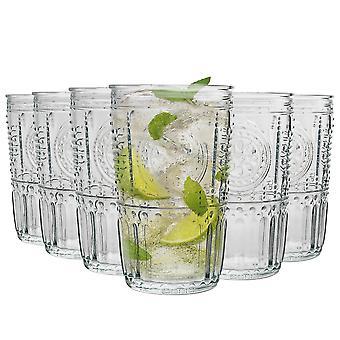 Bormioli Rocco Romantic Ridged Highball Cocktail Glasses Set - 475ml - Pack of 24