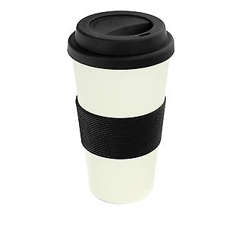Reusable Coffee Cup - Bamboo Fibre Travel Mug with Silicone Lid, Sleeve - 400ml (14oz) - Black