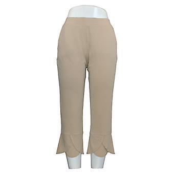 Women's Petite Pants Liquid Knit Tulip Hem Cropped Brown A374076