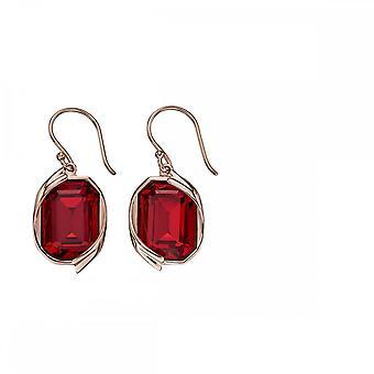 Elementos Prata Siam Red Swarovski Rose Gold Plate Ribbon Brincos E5691R