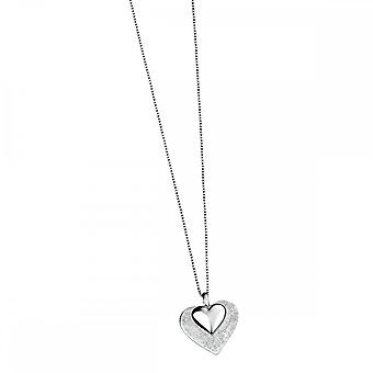 Elements Silver Layered Scratch Finish And Polished Heart Pendant P2996Z364N722
