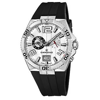 Candino Swiss C4449-1 Men's Black Rubber Strap Wristwatch With Alarm