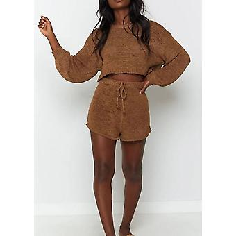Tricoté à manches longues surdimensionné Crop Top Shorts Loungewear Co Ord Brown