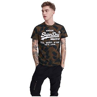 Superdry Vintage Logo All Over Print T-Shirt - Oil Green