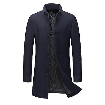 YANGFAN Herren dick ein Knopf Mantel Stand Kragen Trench Jacke