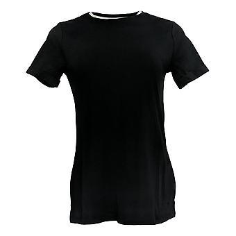 Isaac Mizrahi Live! Women's Top (XXS) Rolled Slv T-shirt Zwart A354985