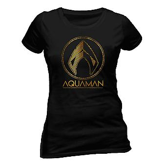 Aquaman Womens/Ladies Movie Metallic Symbol T-Shirt