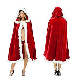 Women Christmas Mrs Santa Claus Cloak Xmas Costume Cappa Cloak Cape