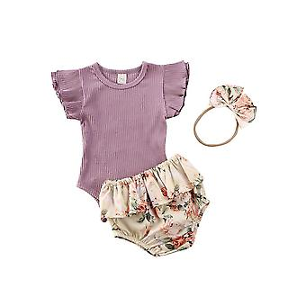 Baby Summer Clothing, Newborn Baby Ruffled Ribbed Bodysuit Floral Shorts