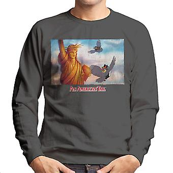 An American Tail Flying Henri Le Pigeon Near Statue Of Liberty Men's Sweatshirt