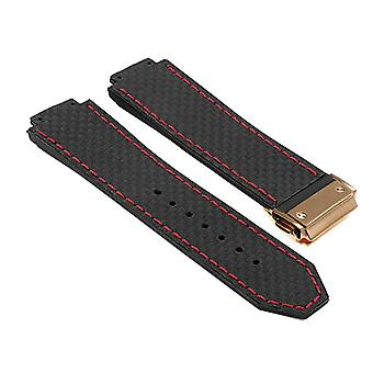 Strapsco dassari s5 carbon fiber rubber watch strap for hublot big bang with yellow gold clasp
