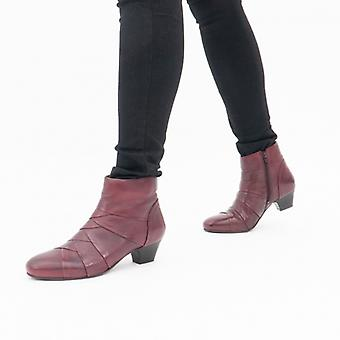 Lotus Tara Ladies Leather Ankle Boots Red
