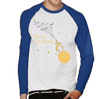 The Little Prince Christmas Flying With Birds Men's Baseball Long Sleeved T-Shirt