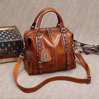 Vintage Genuine Leather, Oil Wax Luxury Handbags And Shoulder Messenger Bag