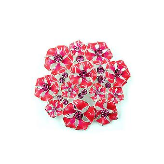 Brooch Flower Pink-violet Enameled